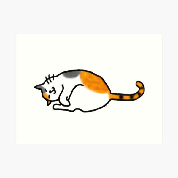Comfy Calico Cat Art Print