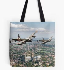 Two Lancasters over Lincoln Tote Bag