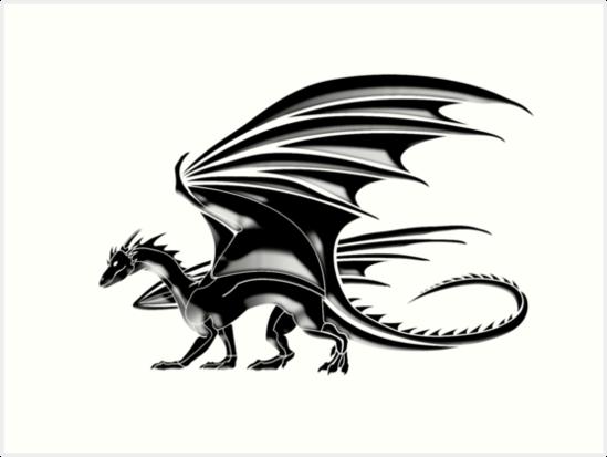 DRACHE, fliegender Drache, schwarz auf weiß\