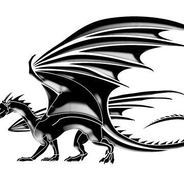 DRAGON, Flying Dragon, Black on White by TOMSREDBUBBLE
