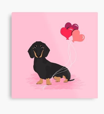 Dachshund valentines day gifts heart balloons dog breed must haves dachsie doxie  Metal Print