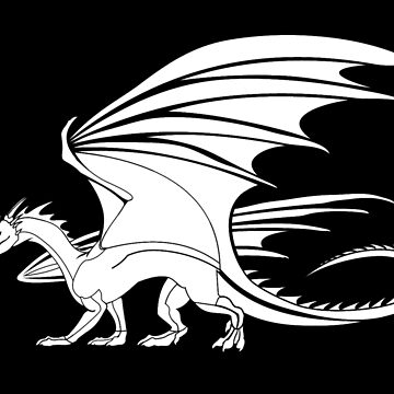 DRAGON, Flying Dragon, White on Black by TOMSREDBUBBLE