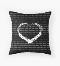 Love Text Calligraphy Black Pattern with Heart Shape Throw Pillow