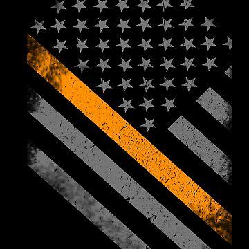 Thin Orange Line American Flag by bluelinegear