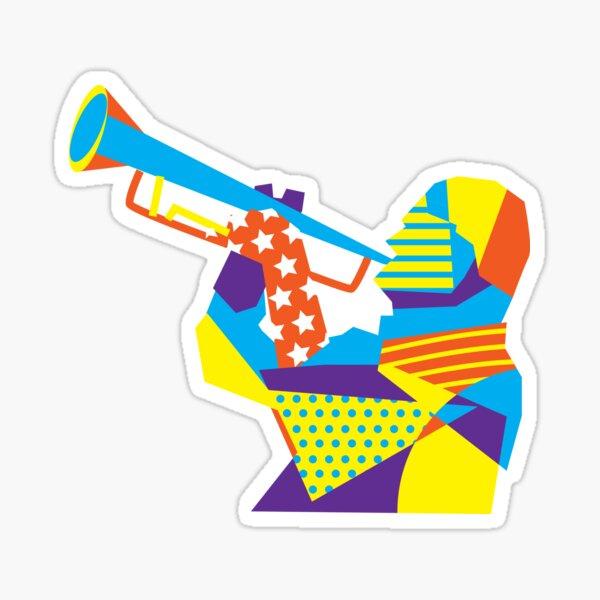 Colorful Jazz Trumpet Musician Sticker