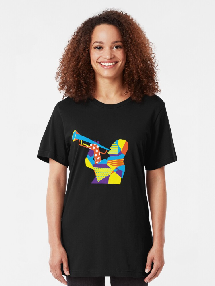 Alternate view of Colorful Jazz Trumpet Musician Slim Fit T-Shirt