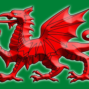 WALES, WELSH, RED DRAGON OF WALES, WELSH FLAG, on Green by TOMSREDBUBBLE