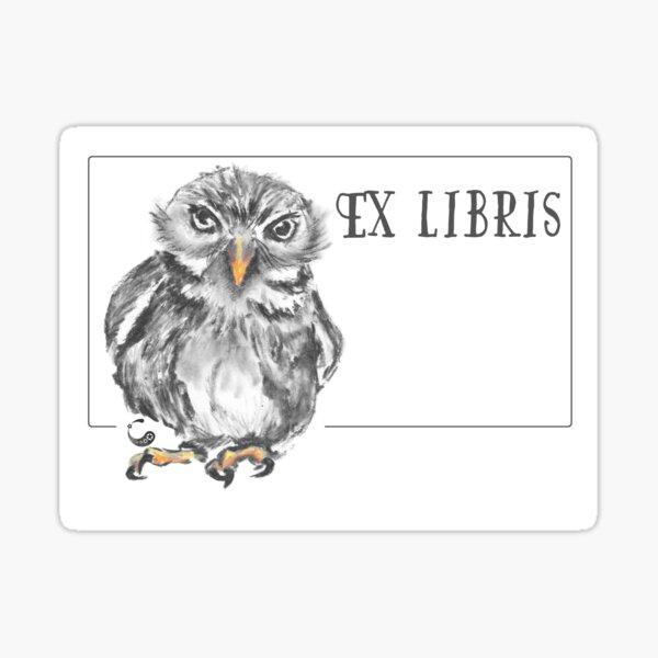 Owl (ExLibris) (Charcoal Animals) Sticker