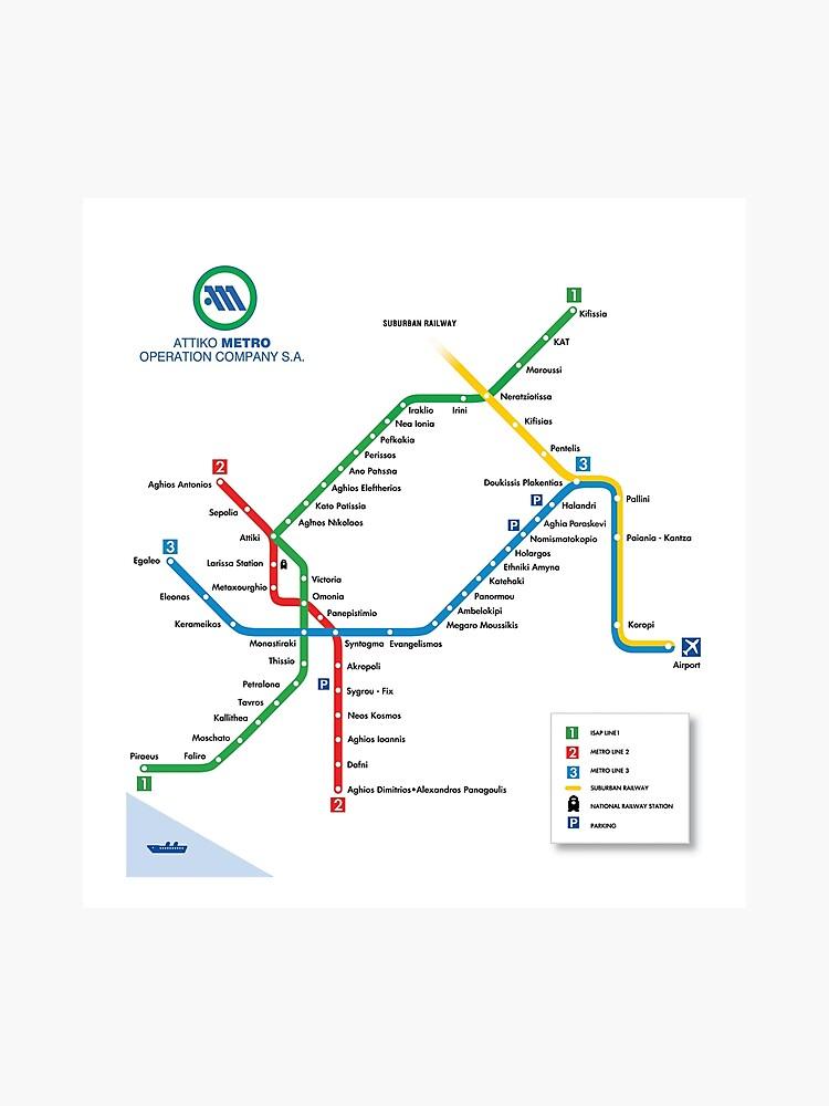 Subway Map Athens.Athens Metro Map Greece Photographic Print
