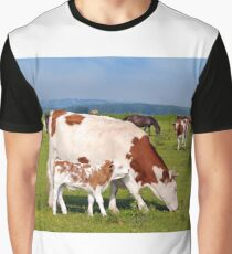 Cow and little calf on pasture Graphic T-Shirt