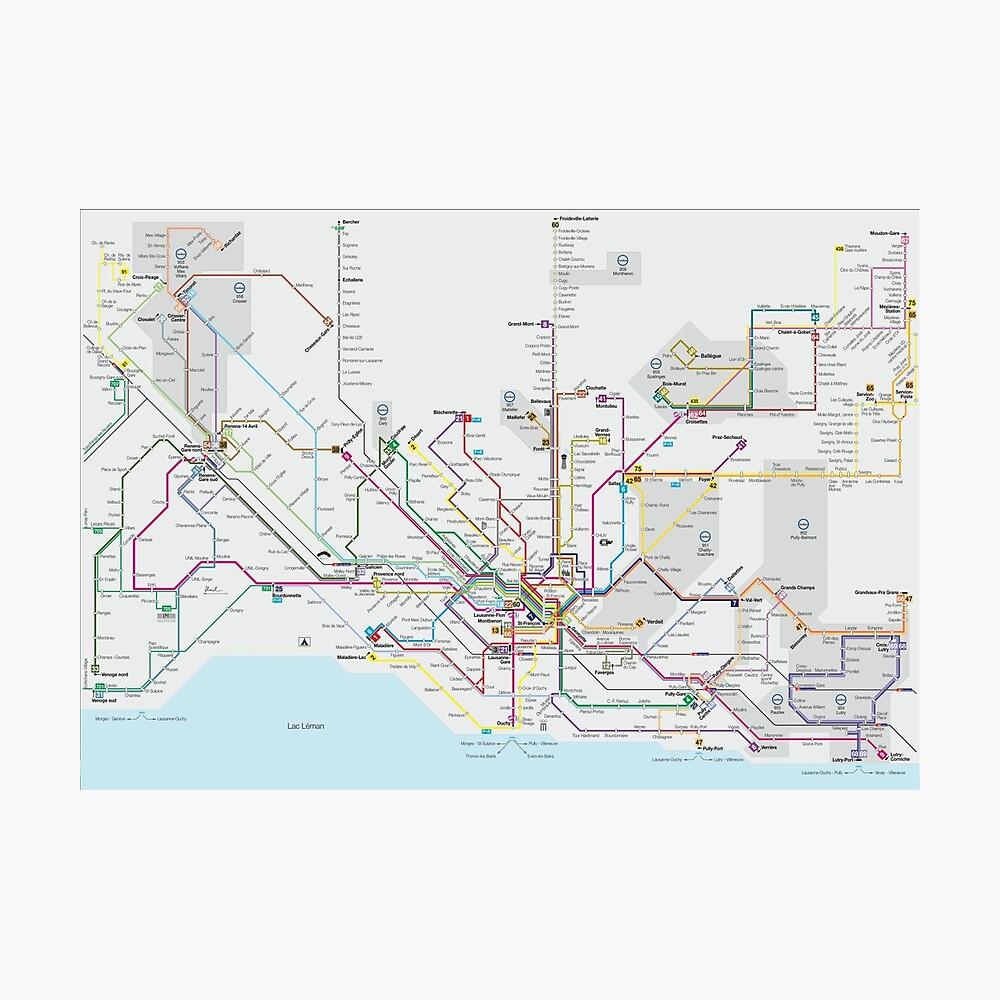 Lausanne Transport Map - Switzerland\