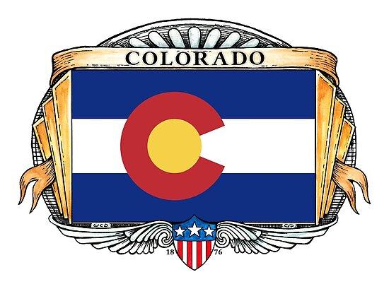 Colorado Art Deco Design with Flag