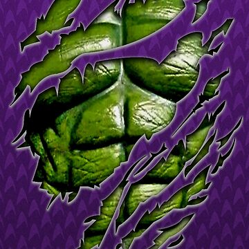 Green muscle chest in purple ripped torn tee by dezigner007