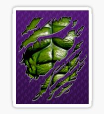 Green muscle chest in purple ripped torn tee Sticker