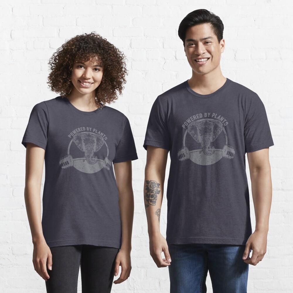 T-shirt essentiel «Alimenté par des plantes végétaliennes éléphant - cadeau de citation drôle végétalien»