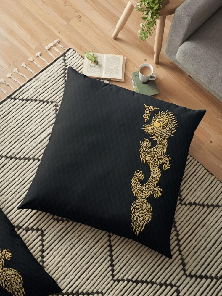 Gold Dragon Mustache Shenlong Floor Pillows By Dadang Lugu Mara