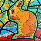 302 - STAINED-GLASS WINDOW BUNNY - DAVE EDWARDS - COLOURED PENCILS & INK - 2010 by BLYTHART