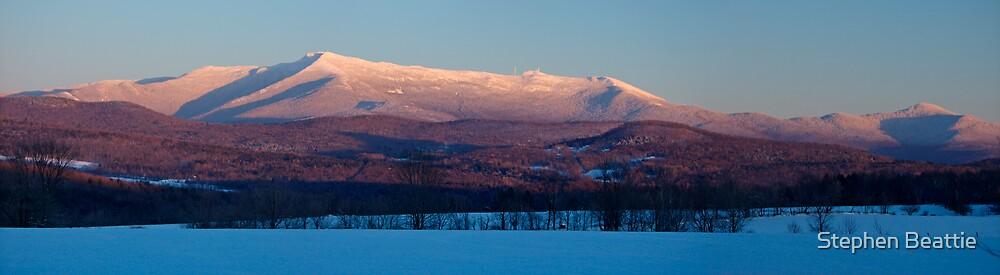 Sunset, Mount Mansfield, Minus 10 Degrees - Panorama by Stephen Beattie