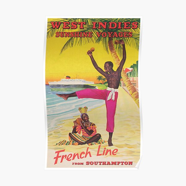 West Indies Vintage Travel Poster Poster