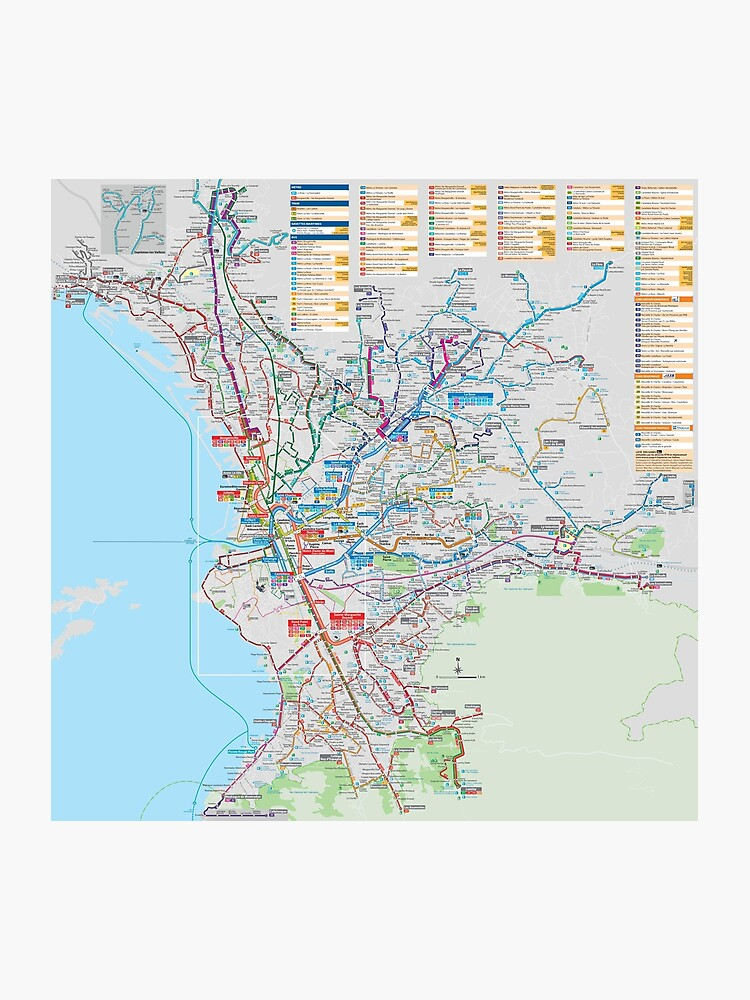 Map Of France To Print.Marseille Bus Map France Photographic Print