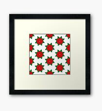 Poinsettia flower.  Seamless pattern with christmas star on white background.  Flat design style.  Framed Print