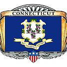 Connecticut Art Deco Design with Flag by Cleave