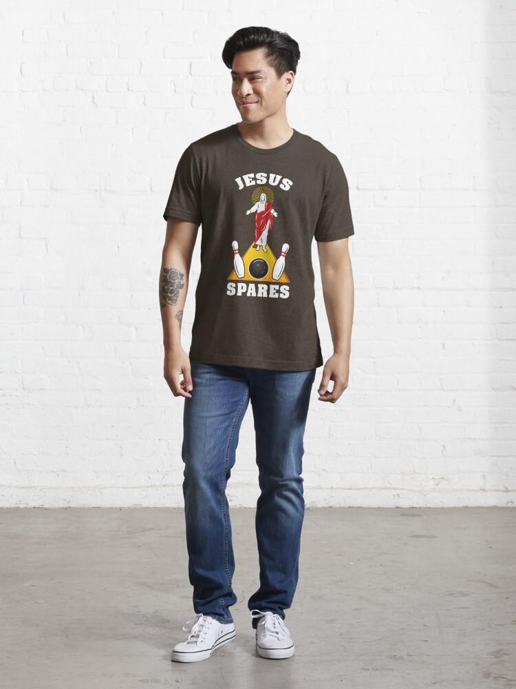 Alternate view of Jesus Spares Bowling Humor Joke - Funny Bowling Pun Gift Essential T-Shirt