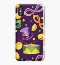 Pattern of beads masks and hats on the holiday Mardi Gras iPhone Case/Skin