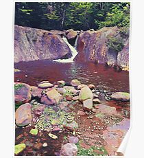 Green Rocks and waterfall Poster