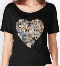 Kitties Galore Cat Heart Collage Love Funny Women's Relaxed Fit T-Shirt