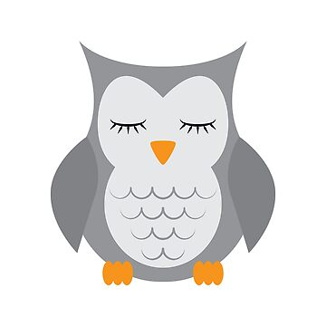 Sleeping owl. Stuffed toy. Iillustration on a white background. Flat design style. by Afone4ka