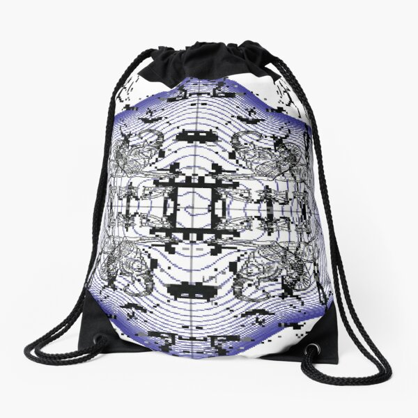 Space phantasmagoria with humans, animals, spirals Drawstring Bag