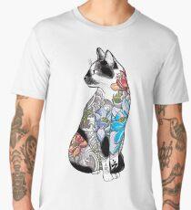 Cat in Lotus Tattoo Men's Premium T-Shirt