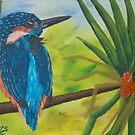 Kingfisher on Pandanus by Wendy Sinclair