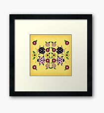 Ladybugs with Flowers Framed Print