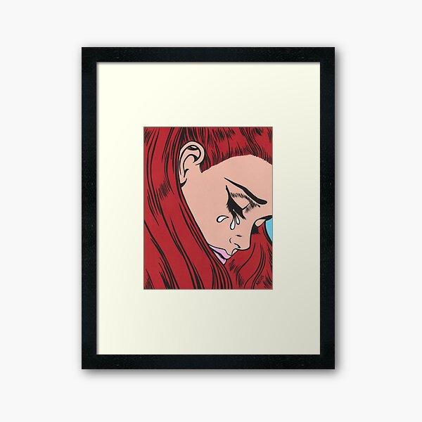 Red Head Crying Comic Girl Framed Art Print