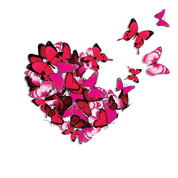 Pink Butterflies Heart Flying Butterfly Love Graphic by TrendyTees12