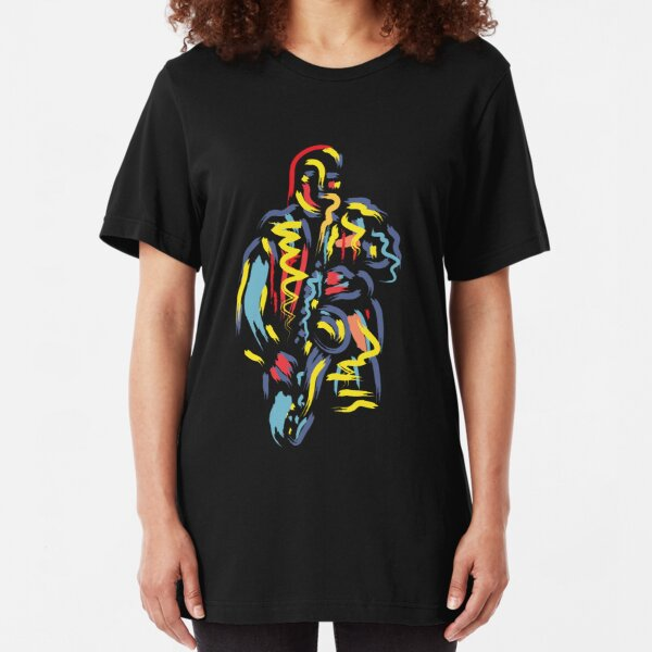 Colorful Jazz Saxophone Musician Digital Painting Style Slim Fit T-Shirt