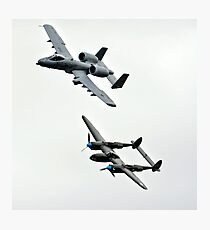 Warthog and Lightning Military Airplane in Flight Photographic Print