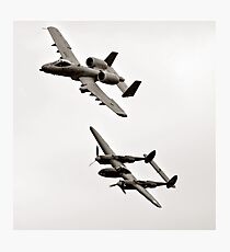 Warthog and Lighting Sepia In Flight Military Aviation Photographic Print