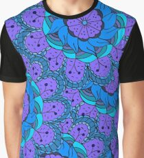 Colorful doodle seamless of many blue flowers Graphic T-Shirt