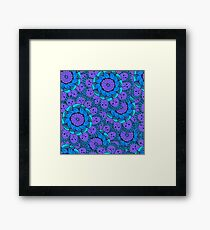 Colorful doodle seamless of many blue flowers Framed Print