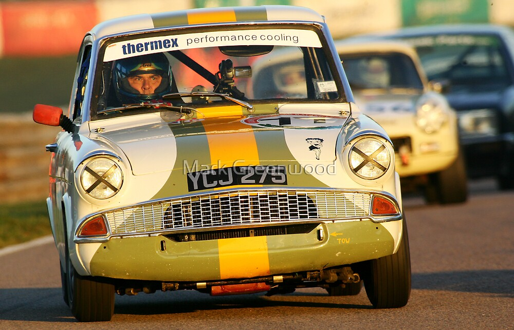Ford Anglia at Sunset, Mallory park by Mark Greenwood