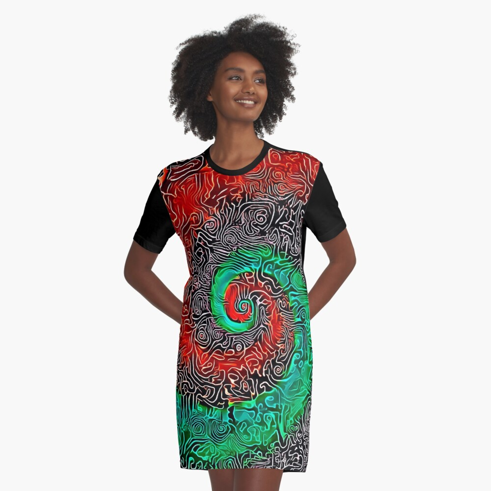 Abstract Golden spiral Graphic T-Shirt Dress