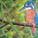 Azure Kingfisher - Watching, Waiting... by Wendy Sinclair