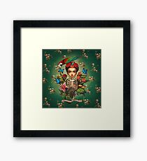 So cute Frida Kahlo baby and skulls picture Framed Print