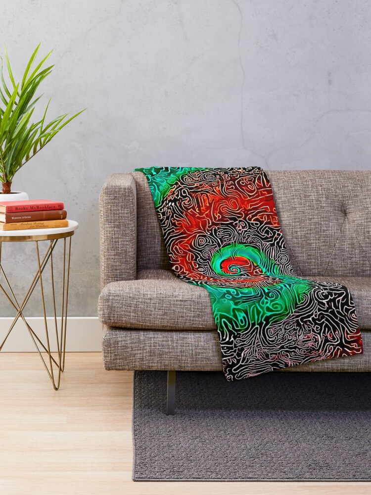 Alternate view of Abstract Golden spiral Throw Blanket