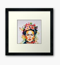 Watercolor about Frida Kahlo face Framed Print