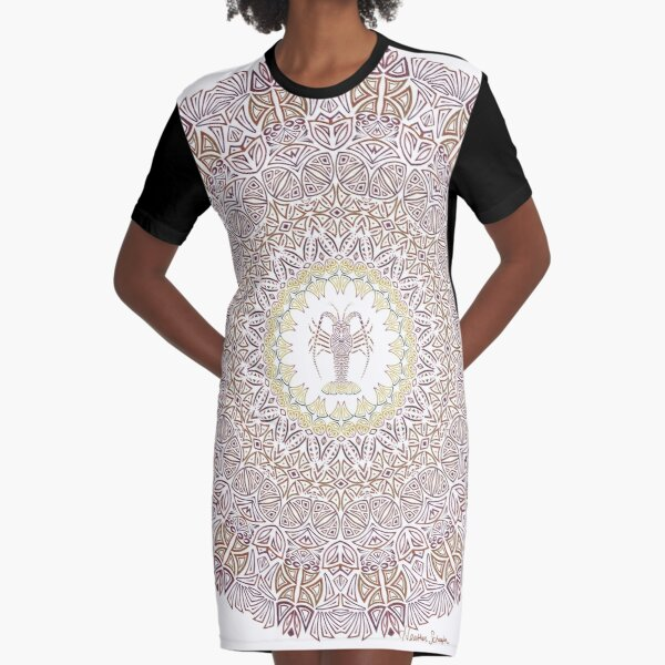 Tribal Caribbean Lobster Mandala Graphic T-Shirt Dress