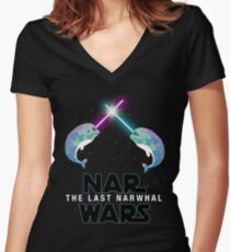 Funny Star Wars Parody Nar Wars Narwars Narwhals Narwhale Stuff T shirt Women's Fitted V-Neck T-Shirt